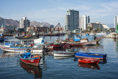 Colourful wooden fishing boats in the harbour at Antofagasta. Antofagasta, Chile - April 5, 2015: Colourful wooden fishing boats in the harbour at Antofagasta in Royalty Free Stock Photos