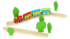 Colourful wooden model train Royalty Free Stock Image