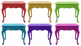 Colourful wooden tables. Six colourful wooden tables on a white background Stock Image