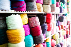 Colourful wool. On the shelf Stock Image