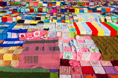 Colourful wool blankets Stock Images