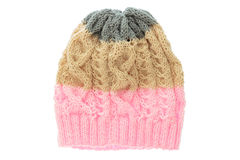 Colourful wool hat isolated on white . Royalty Free Stock Images