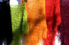 Colourful woolen shawls. Some colourful woolen shawls on display Royalty Free Stock Image