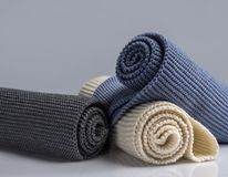 Colourful woolen things. On white background stock photos