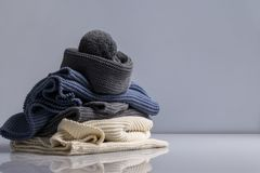 Colourful woolen things on white background stock photo