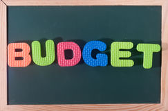 Colourful word budget at black board as a background Stock Image
