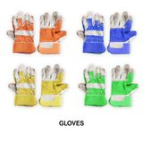 Colourful Working mens gloves isolated on white background. Creative layout made of Colourful Working mens gloves isolated on white background with clipping path stock photo