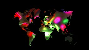 Colourful world map on black background, flat Earth, globe worldmap icon, 3d render backdroung. Colourful world map on black background, flat Earth, globe vector illustration