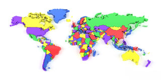 Colourful world map with national borders Royalty Free Stock Photography