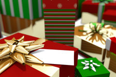 Colourful wrapped up christmas gifts Royalty Free Stock Image