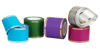 Colourful Wrapping Ribbon. Wrapping ribbons isolated on white stock photography