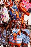 Colourful Wyplatający plecaki, Lefkada, Grecja fotografia stock
