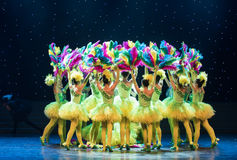Colourful-Yellow chicks -Children dance Royalty Free Stock Images