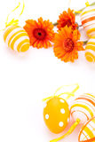 Colourful yellow decorated Easter eggs Stock Photos