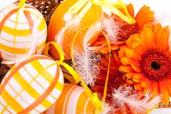 Colourful yellow decorated Easter eggs Royalty Free Stock Photo