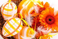 Colourful yellow decorated Easter eggs Royalty Free Stock Photography