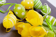 Colourful yellow and green spring Easter Eggs Stock Image