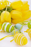 Colourful yellow and green spring Easter Eggs Stock Photo