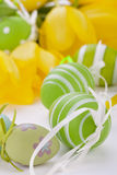 Colourful yellow and green spring Easter Eggs Royalty Free Stock Photography