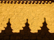 Colourful yellow wall with shadows at samye monastery, Tibet Royalty Free Stock Photo