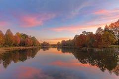 Colourful zmierzch i jesienie coloured drzewa Obrazy Royalty Free
