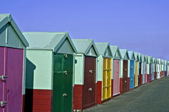 colored beach huts Stock Images
