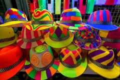 Colourfull and bright hats for nightparty Royalty Free Stock Photography