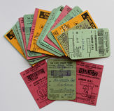 A colourfull collection of  british railway tickets Royalty Free Stock Photo