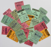 A colourfull collection of  british railway tickets Royalty Free Stock Image