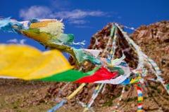 Colourfull die boeddhistische vlaggen bidden Royalty-vrije Stock Afbeelding