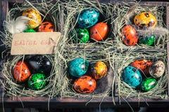 Colourfull eggs для пасхи в коробке с сеном Стоковое Изображение