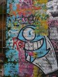 Colourfull-Graffitiwand in London stockbild