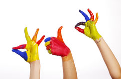 Colourfull Hands with clipping path2 Stock Photography
