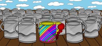 Colourfull kubek w tłumu wzrokowo jednakowi patrzeje kubki Obrazy Royalty Free