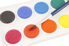 Colourfull paints and paintbrush Royalty Free Stock Photography