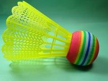 Colourfull plast-fjäderboll Arkivbild