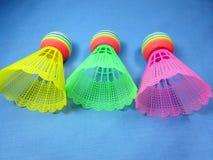 Colourfull plastic shuttlecocks Royalty Free Stock Photography