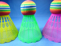 Colourfull plastic shuttlecocks Stock Image