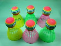 Colourfull plastic shuttlecocks Royalty Free Stock Image