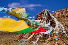 Colourfull praying buddhist flags Royalty Free Stock Image