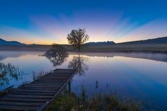 Colourfull rays before sunrise Stock Image
