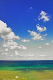 Colourfull sky and ocean. Colourfull seaside Stock Photo