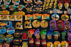 Colourfull souvenirs of Morocco hanging in shops. Royalty Free Stock Images