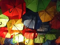 Colorful umbrellas. Good mood with red, green, blue, yellow, colorfull umbrellas stock photography