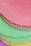 Colourfull-Waffeln Strukturierter abstrakter Hintergrund Abschluss oben Flache Lage Lizenzfreies Stockfoto