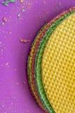 Colourfull-Waffeln Strukturierter abstrakter Hintergrund Abschluss oben Flache Lage Stockfotografie