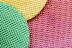 Colourfull-Waffeln Strukturierter abstrakter Hintergrund Abschluss oben Flache Lage Lizenzfreie Stockfotos