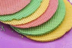 Colourfull-Waffeln Strukturierter abstrakter Hintergrund Abschluss oben Flache Lage Stockfoto