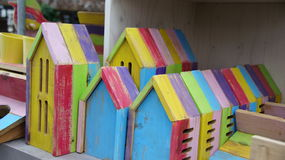 Colourfull wooden insect houses Stock Photos