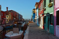 Colourfullhuizen in Burano Stock Afbeelding
